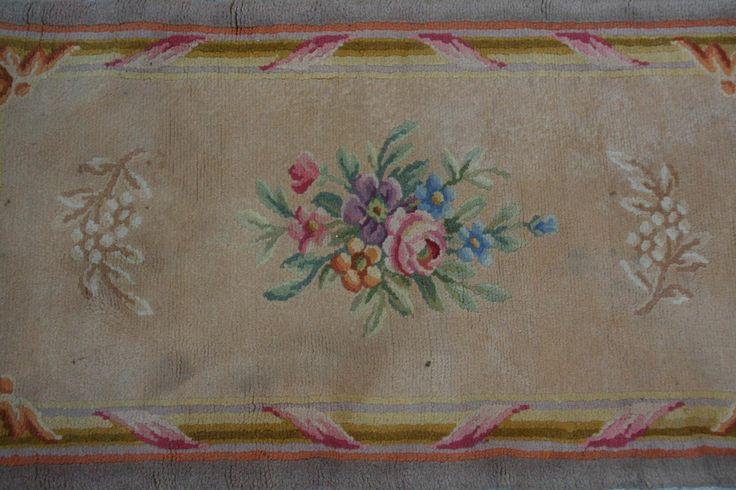 Tapis ancien Français SAVONNERIE 64X118 cm : tapis d'orient, tapisseries d'aubusson anciennes savonnerie, tapis moderne contemporain antique ancien tapis persan, Tapis d'orient persan, turc, tapisseries d'aubusson, tapis modernes, Savonneries anciennes
