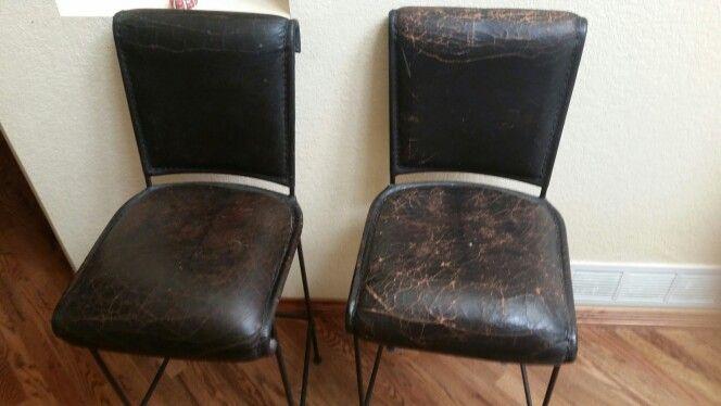 ANNIE Sloan dark wax on worn leather bar stools