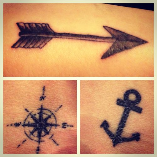 "Arrow- ""An arrow can only be shot by pulling it backward. So when life is dragging you back with difficulties, it means it's going to launch you into something great. So just focus, and keep aiming."" Compass- To guide me in the right direction Anchor- To anchor my soul to The Lord. ❤❤❤"