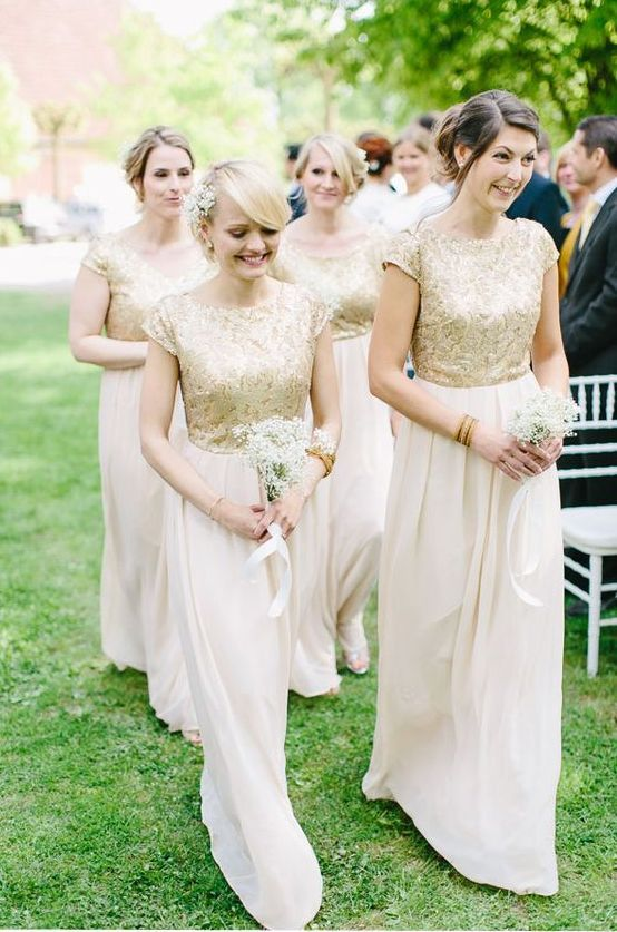 38 Chic And Trendy Bridesmaids' Separates Ideas: blush maxi skirts and cap sleeve gold metallic tops