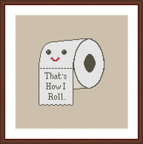 Toilet Paper Funny Cross Stitch PDF Pattern That's How I Roll                                                                                                                                                                                 More