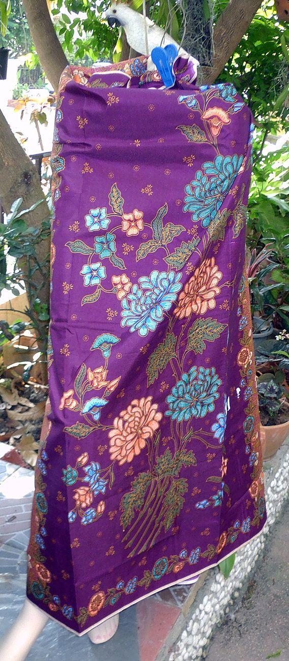 woman's sarong purple and gold batik pattern W2 by Bangkoksarong
