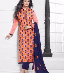 Buy Blue And Orange cotton embroidered semi stitched salwar with dupatta party-wear-salwar-kameez online