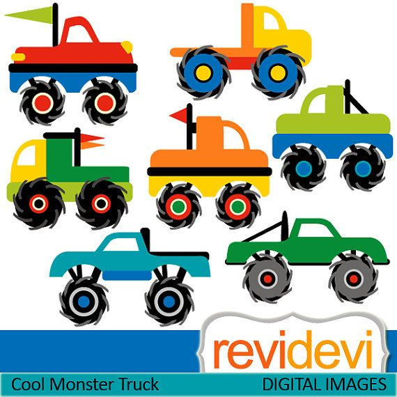 Digital clipart Cool Monster Truck 07405 Commercial by revidevi, $4.00