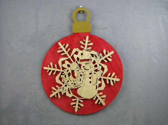 Snowman snowflake glitter large wall ornament, red, wall hanging, holiday décor, Christmas décor, scroll saw wood art.