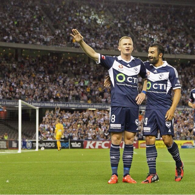 Berisha and Kalfallah celebrate another goal for Melbourne Victory