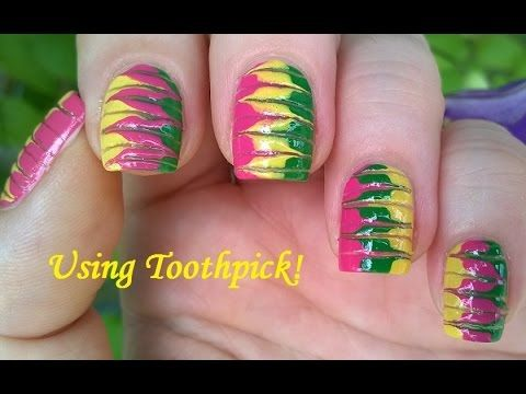 Best 25 toothpick nail art ideas on pinterest diy nails marble nails without water in pink green yellow toothpick nail art tutorial prinsesfo Images