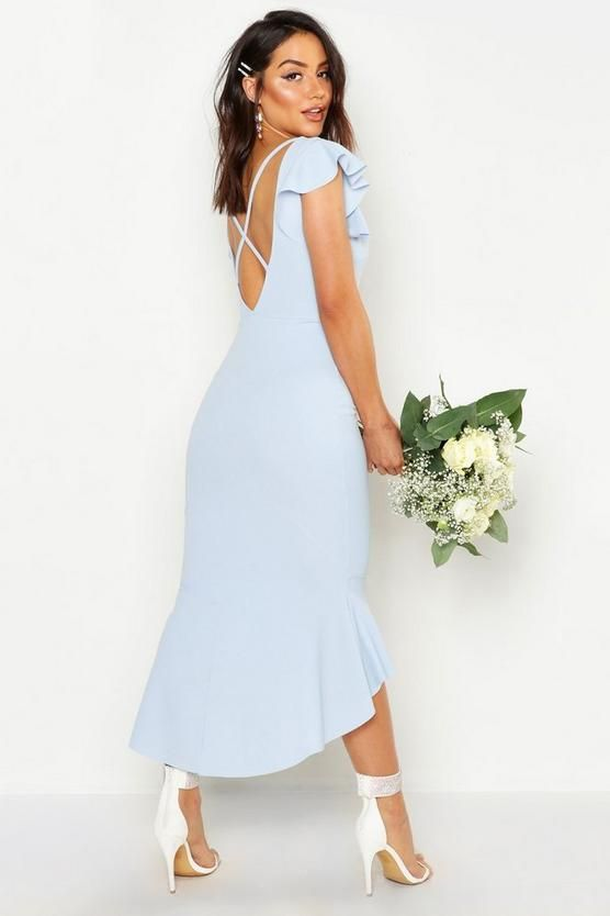 59f86a6e712d Frill Detail Strappy Back Fishtail Midi Dress in 2019 | Oh damn, I ...