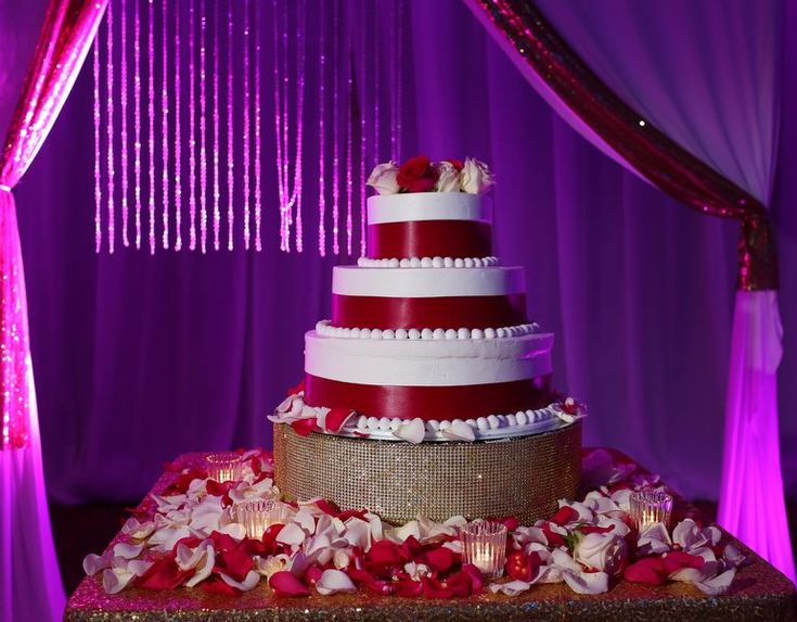 Beautiful red and white cake from an Indian Hindu wedding at Moon Palace Cancun #destinationwedding