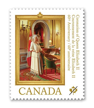 2013 Canada Post - Queen Elizabeth II: 60th Anniversary of Her Majesty's Coronation    Although Princess Elizabeth officially became Queen the year before, Her Majesty's Coronation took place in 1953.  To be issued May 8, 2013