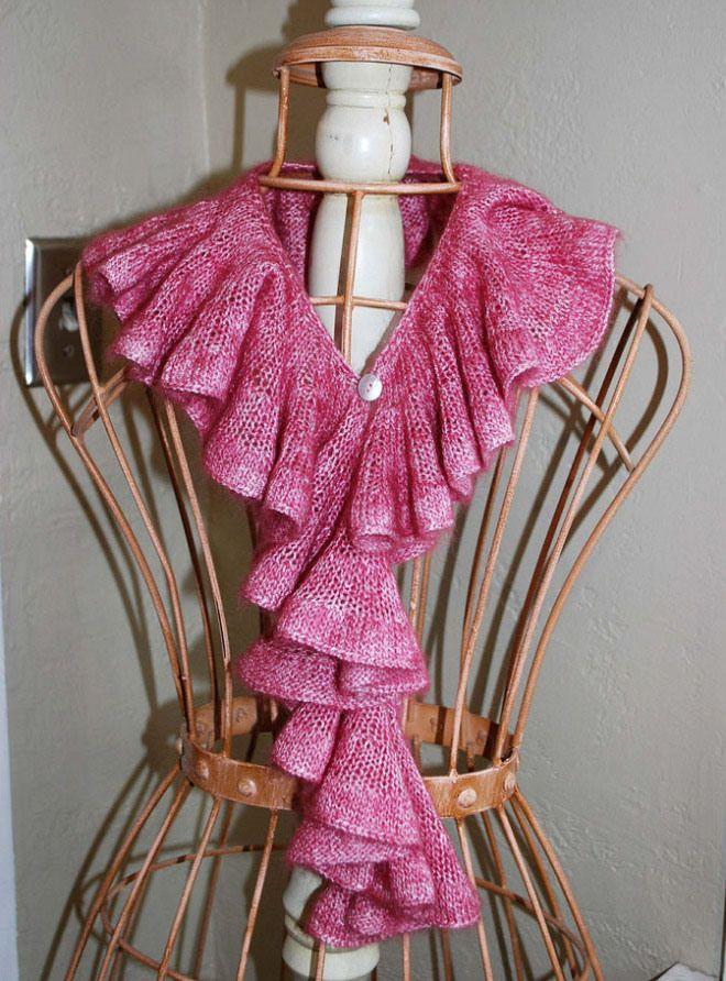 Knitting Patterns Ruffle Scarves Free : romantic-ruffle free knit pattern scarf knitting Pinterest