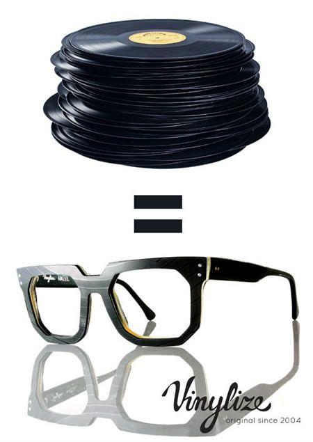 レコード盤で作られたメガネ