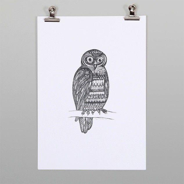 Morepork Print by Ruby Watson