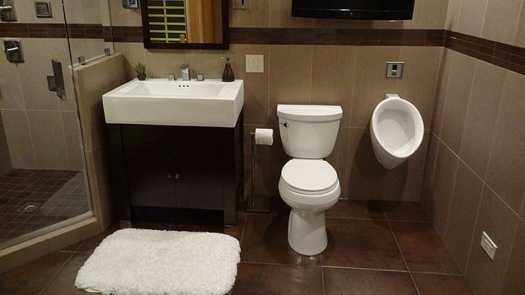 Bathroom with toilet and urinal