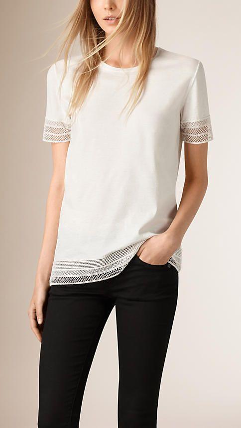 Creme Blusa de algodão com acabamento de renda - Imagem 1