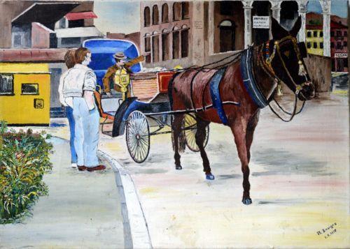Vintage-Greek-Painting-Antique-Bazaar-In-Greece-Signed