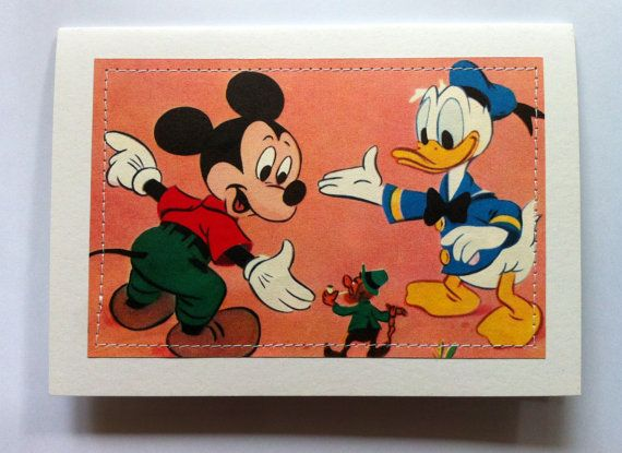 Mickey Mouse and Donald Duck Greeting Card  book by MagpieSailor, $3.50