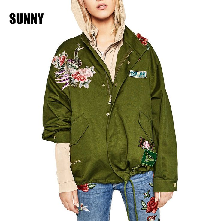 >> Click to Buy << 2017 ZA Spring Women Basic Coats Peony floral Embroidery Jacket Streetwear patches Rivet Zipper Retro Army Green  Parkas C00130 #Affiliate