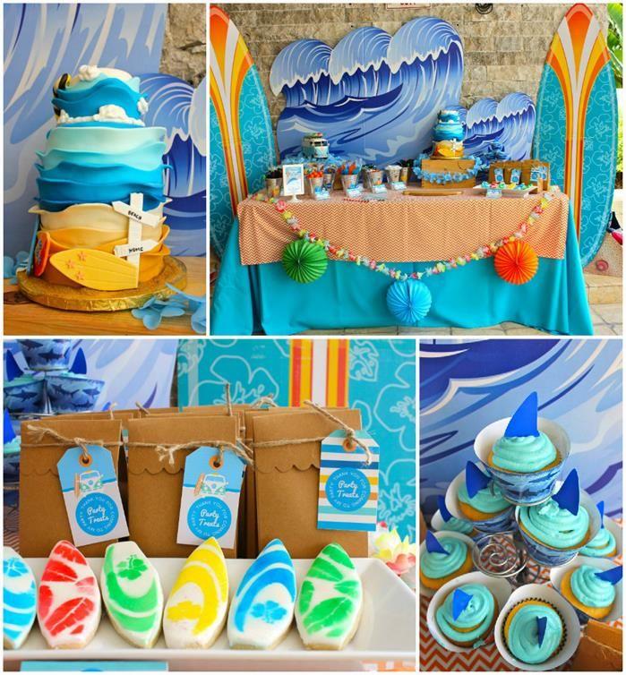 Toalha de mesa: turquesa por baixo e areia por cima. Usar boleira e loucas na cor azul.