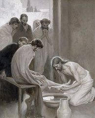 Biblical Paintings - Jesus Washing the Feet of his Disciples by Albert Gustaf Aristides Edelfelt
