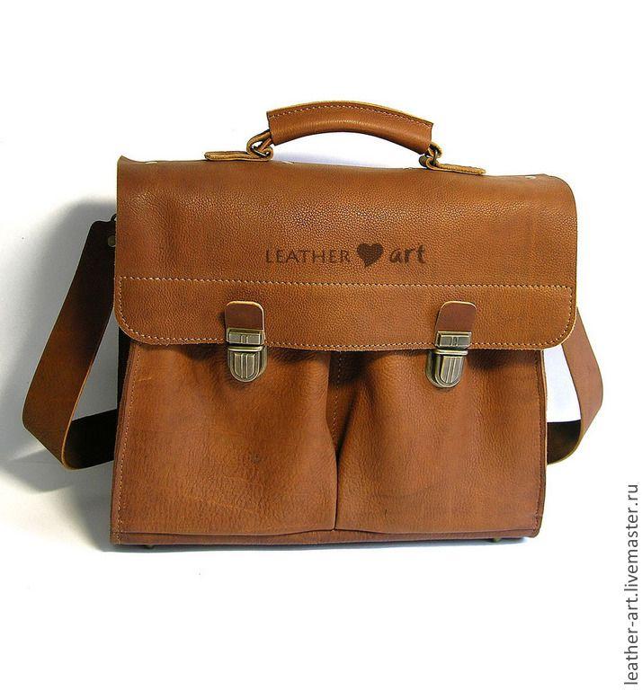 Купить Кожаный мягкий портфель Офисный-2 - коричневый, однотонный, портфель, портфель из кожи