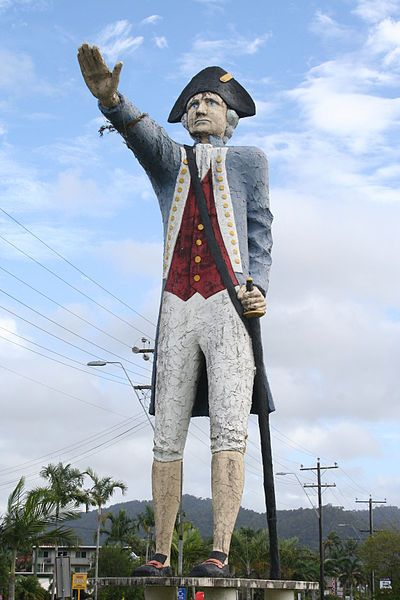 Size is 14 m × 2 m (46 ft × 6.6 ft) Modelled on the explorer Captain Cook the statue is located in Cairns Queensland. In 1770, James Cook first mapped the future site of Cairns, naming it Trinity Bay.