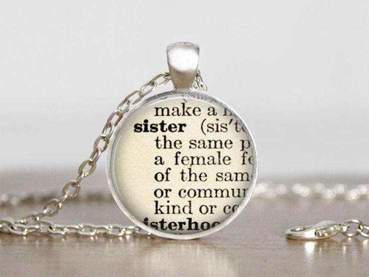 Lange ketting - Sister zus Ketting Hanger Gift - Een uniek product van MadamebutterflyMeagan op DaWanda