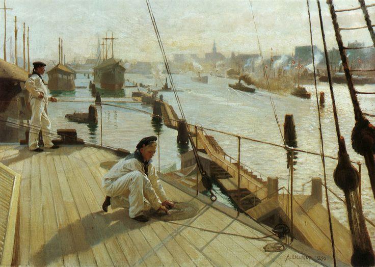 At anchor in Copenhagen. (1890).Albert Edelfelt