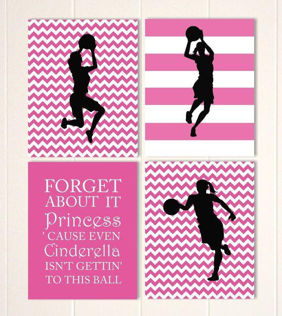 Girls sports art, girls basketball, sports art, basketball, girls wall art, girls bedroom decor, inspirational girls quote, custom colors by PicabooArtStudio, $28.00