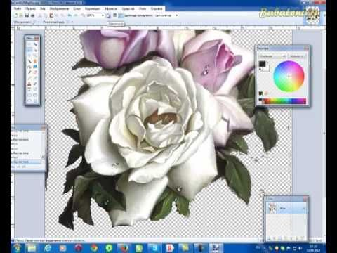 Вырезаем рисунок из темного неоднородного фона в Paint.Net - YouTube