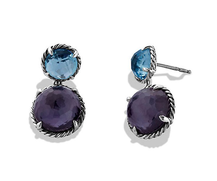 Châtelaine earrings with blue topaz and Black Orchid.