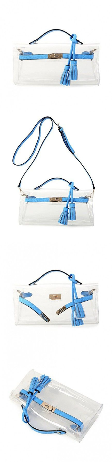 Lam Gallery Clear Purses and Handbags for Women Work NFL Stadium Approved Bags for Football Games Transparent Clutch Beach Bag PVC Plastic See Through Shoulder Crossbody Bags-Blue