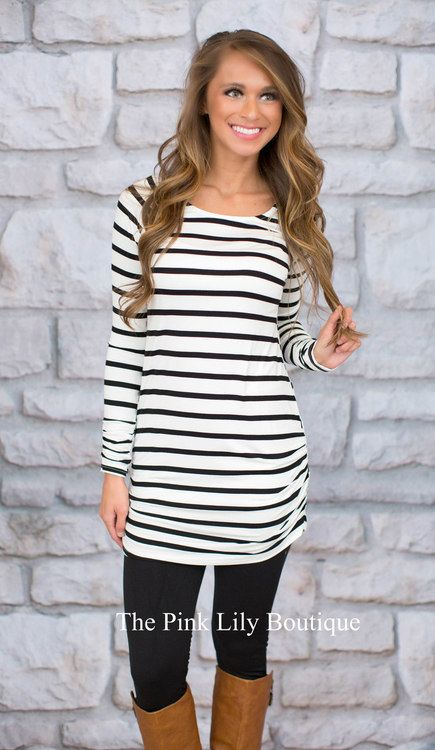 This black and white striped tunic is an essential wardrobe piece for a laid back, stylish look!