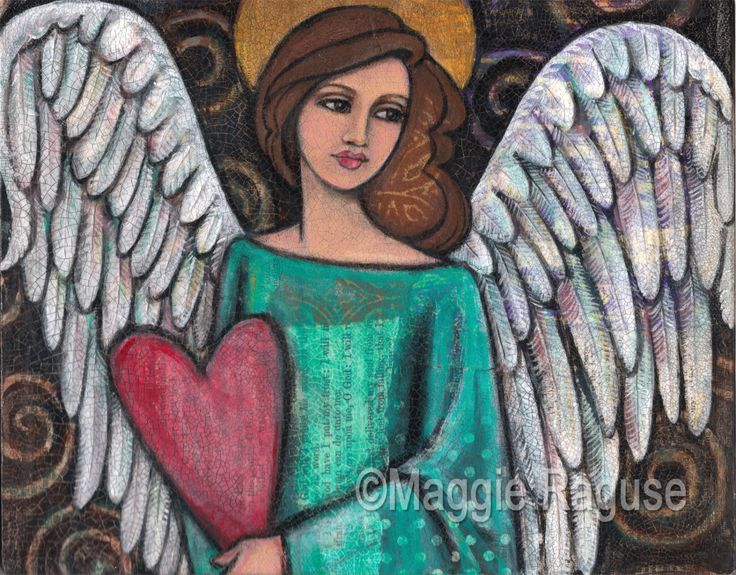 Spread Your WIngs mounted PRINT of folk art angel painting by Maggie Raguse. $24.00, via Etsy.