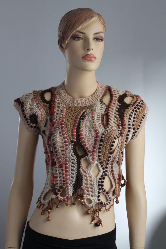 Freeform Crochet  Vest   Sweater  Wearable Art  by levintovich, $220.00