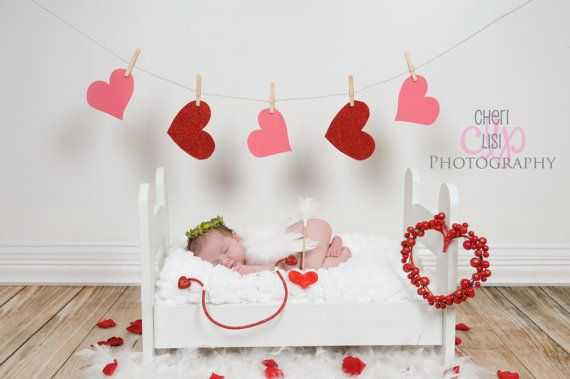 Cupid Red and White Heart Bow and Arrow with Garden Halo and White Feathered Wing Complete SET - Perfect Valentines Day Newborn Photo Prop