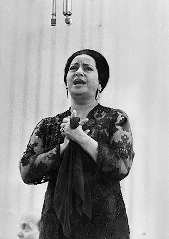 Umm Kulthum (Arabic: أم كلثوم ʾUmm Kulṯūm;) (December 30, 1898–February 3, 1975) was an Egyptian singer, songwriter, and actress. Born in Tamay ez-Zahayra village, which belongs to El Senbellawein, she is known as the Star of the East (kawkab el-sharq). More than three decades after her death, she is widely regarded as the greatest female singer in Arabic music history. The name Oum Kasoum means Mother Kalsoum and was a stage name.