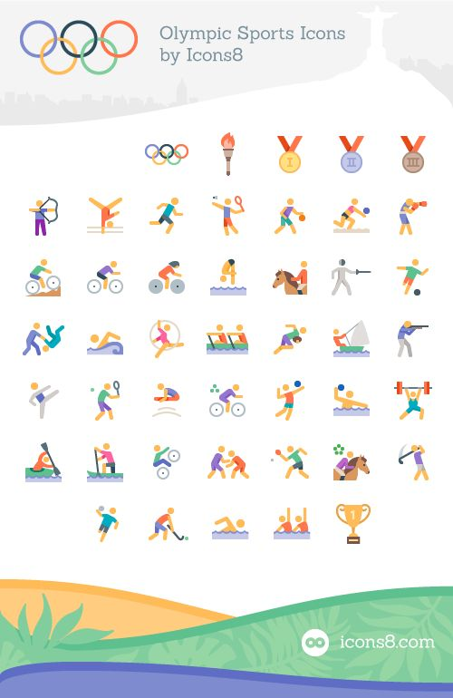 Freebie: Olympics Sports Icon Set (45 Icons, EPS, PDF, PNG, SVG)