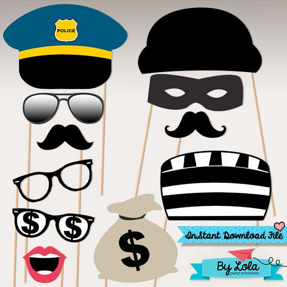 Instant Download - Police Birthday Party Photo Booth Props - Policeman Party Masks Printable PDF File by ByLolaPrintables
