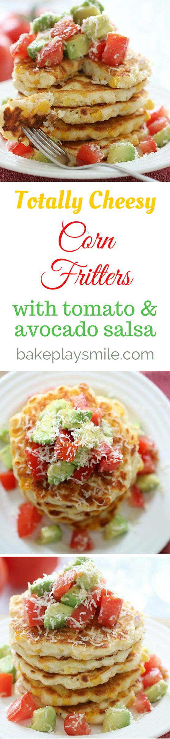 These quick & easy Cheesy Corn Fritters topped with a simple tomato and…