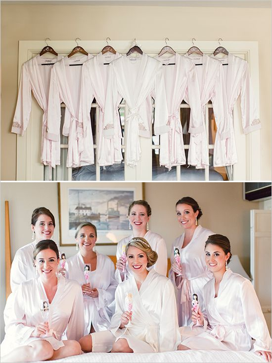 bridesmaid robes. cheersing to the bride. @weddingchicks  www.weddingprepgals.com