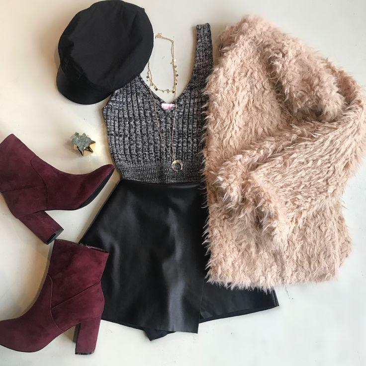 Leather skirt, fuzzy coat & booties