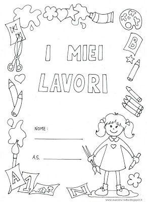 maestra Nella: copertine 'i miei lavori'  bambino  e bambina