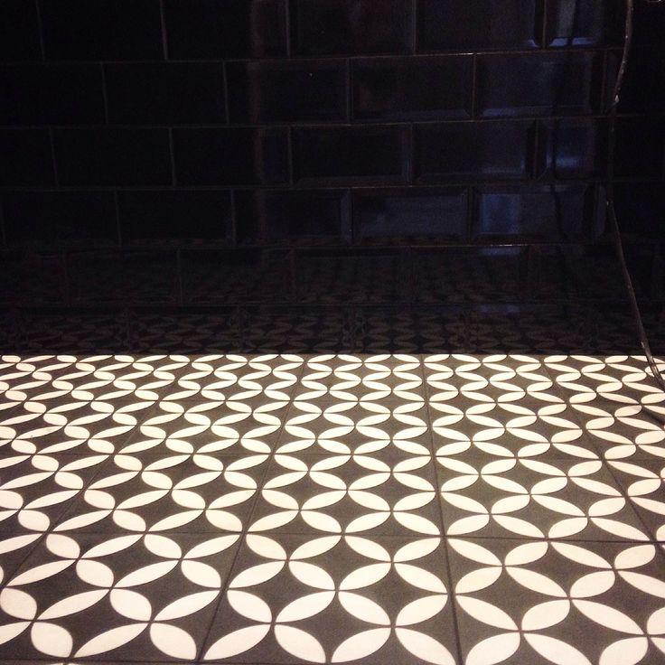 Powder room tiles - Golvabia -Hoganas - black subwaytiles