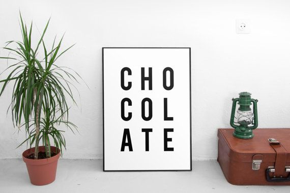 chocolate print chocolate poster minimalist poster by ParadigmArt