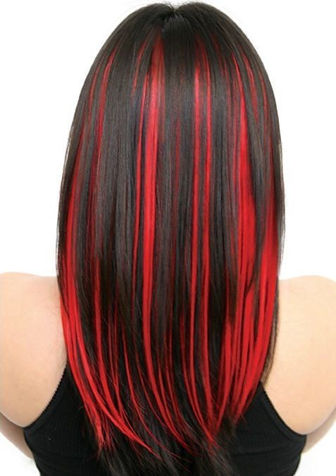 Black hair with fire engine red highlights: