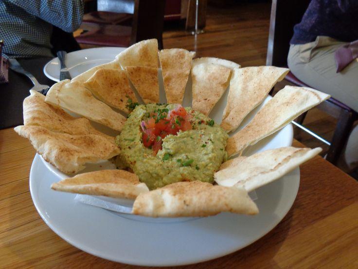 Houmous (Jalapeño-Coriander Hummus, fresh tomatoes, flatbread) @ Restaurant Bar Boulud @ Mandarin Oriental