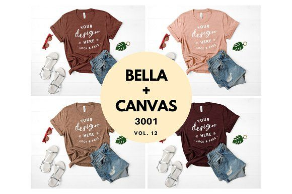 Download Bella Canvas 3001 Mockup Bundle V12 Tshirt Mockup Shirt Mockup Design Mockup Free