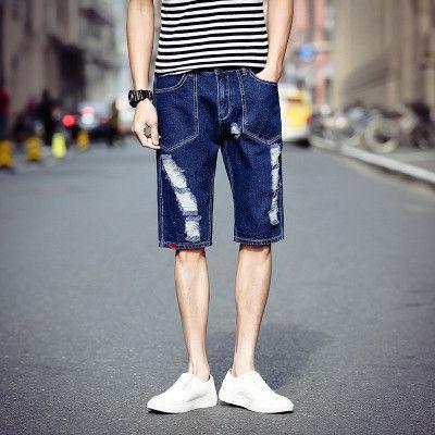 Cuffed Jeans Shorts Male Gavage Day Code Summer Pants Youth Cowboy Pants Men Tide Men's Pants N01