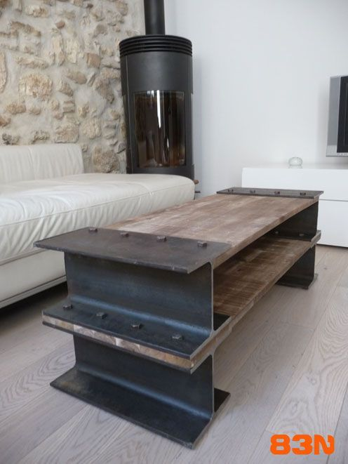 I-bar table #industrial #woodwork #metal: